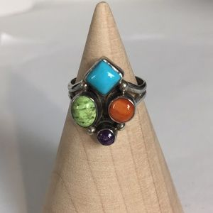 Sterling ring Native American vintage sz 9 approx